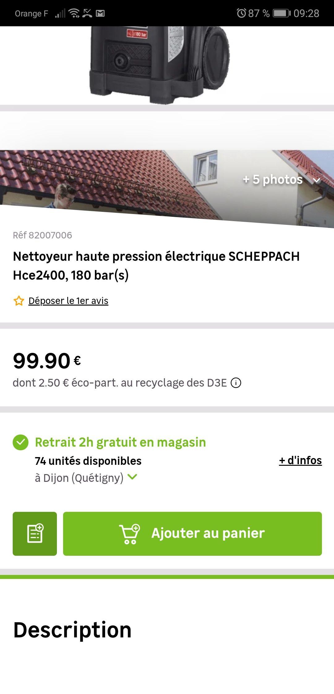 Nettoyeur Haute Pression électrique Scheppach Hce2400 180
