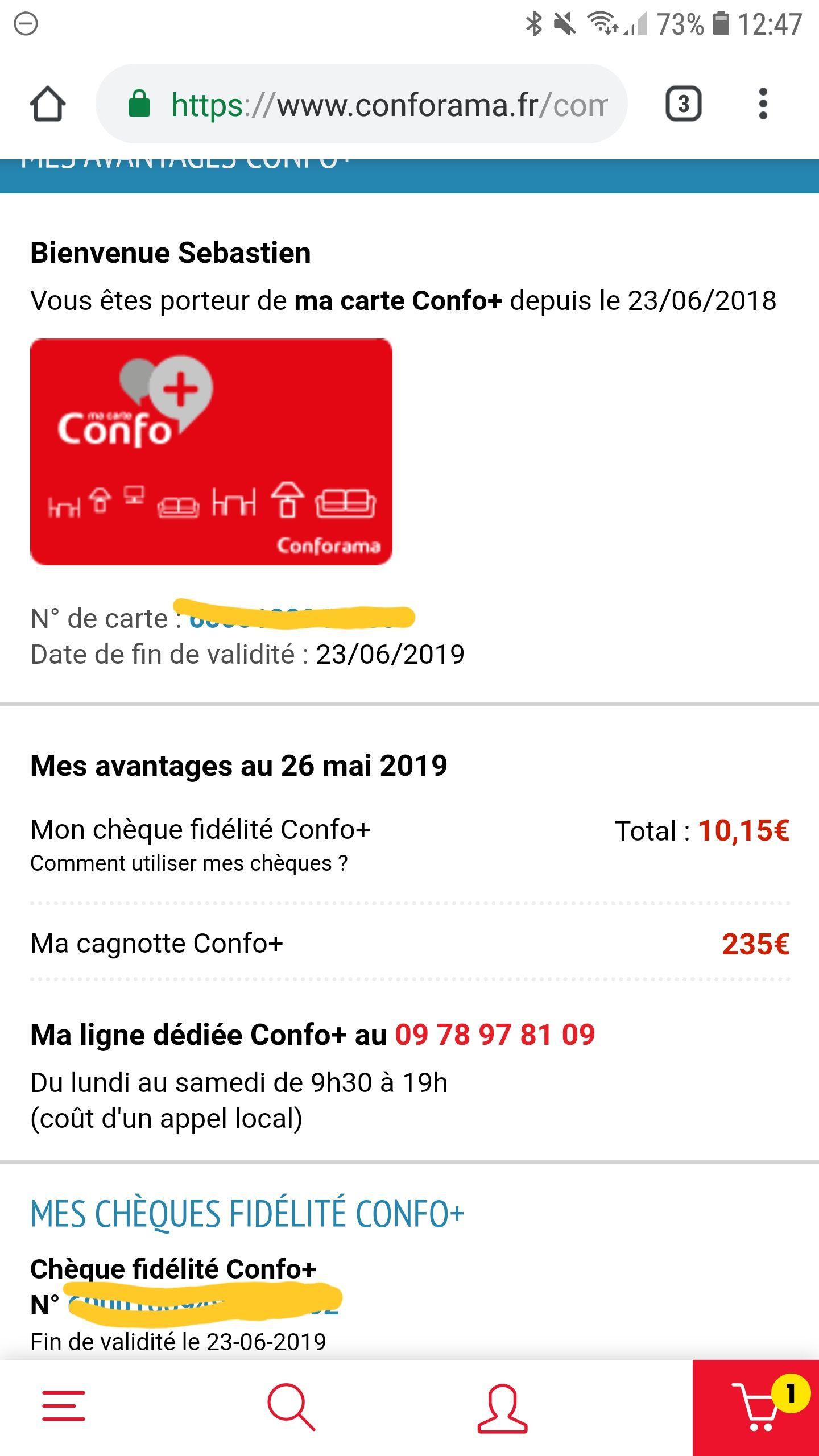 Conforama Carte De Fidelite.Carte Confo 50 Reverses Sur Votre Carte Sur Le Destockage