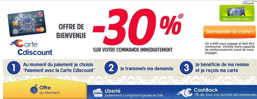 Carte Cdiscount Remise.Carte De Credit Cdiscount 30 Banque Casino Dealabs Com