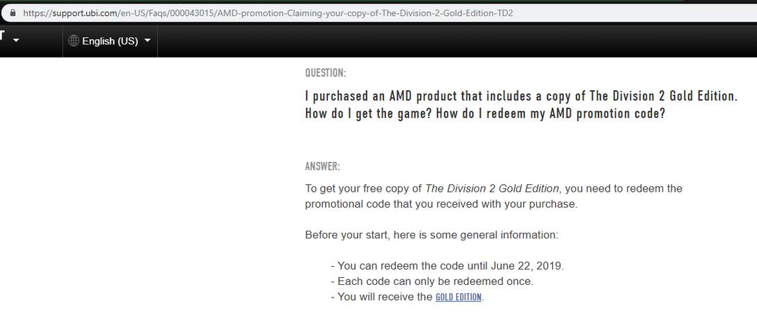 AMD rewards : The division 2 gold plus disponible – Dealabs com