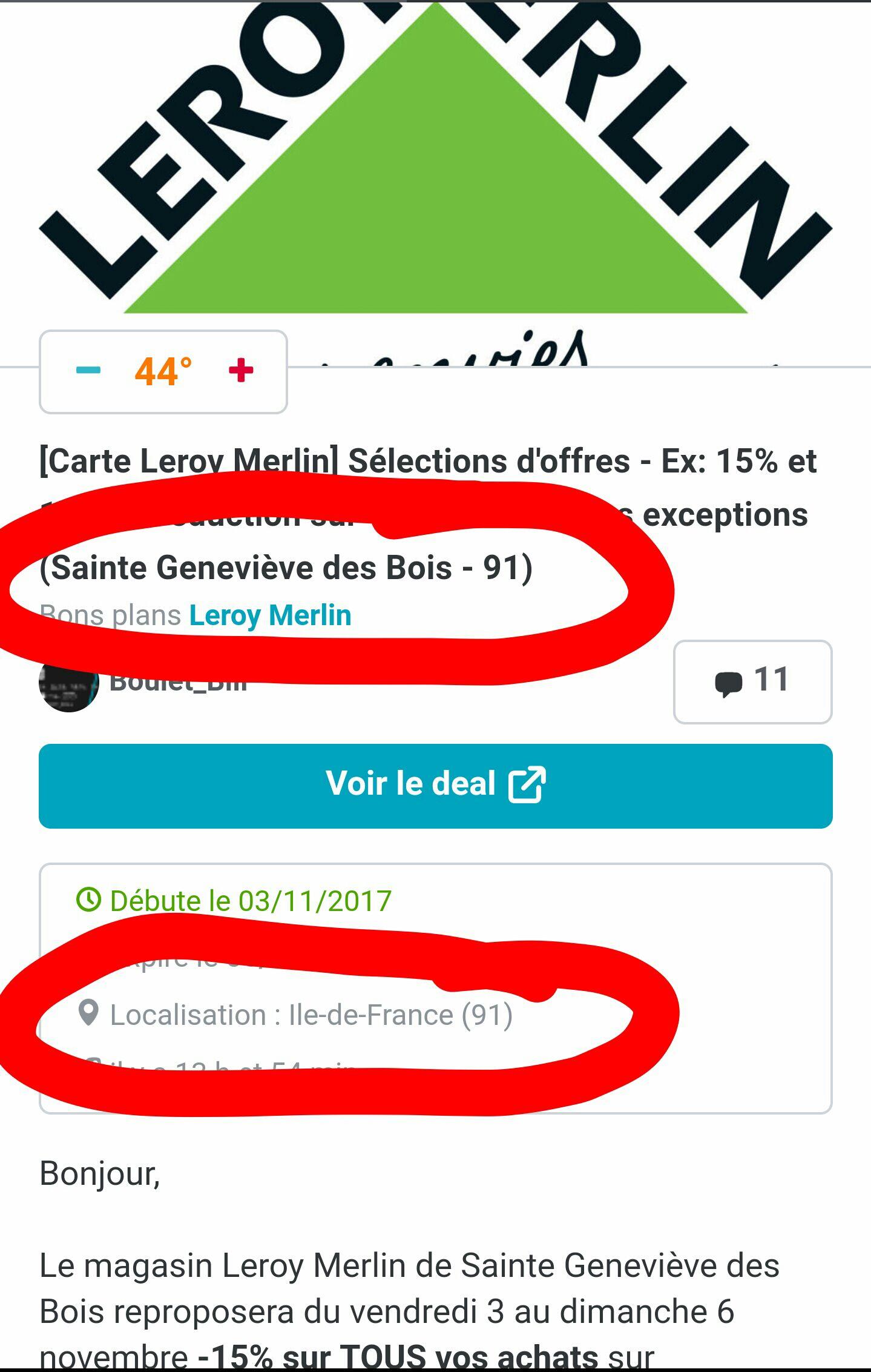 carte leroy merlin] sélections d'offres - ex: 15% et 19% de