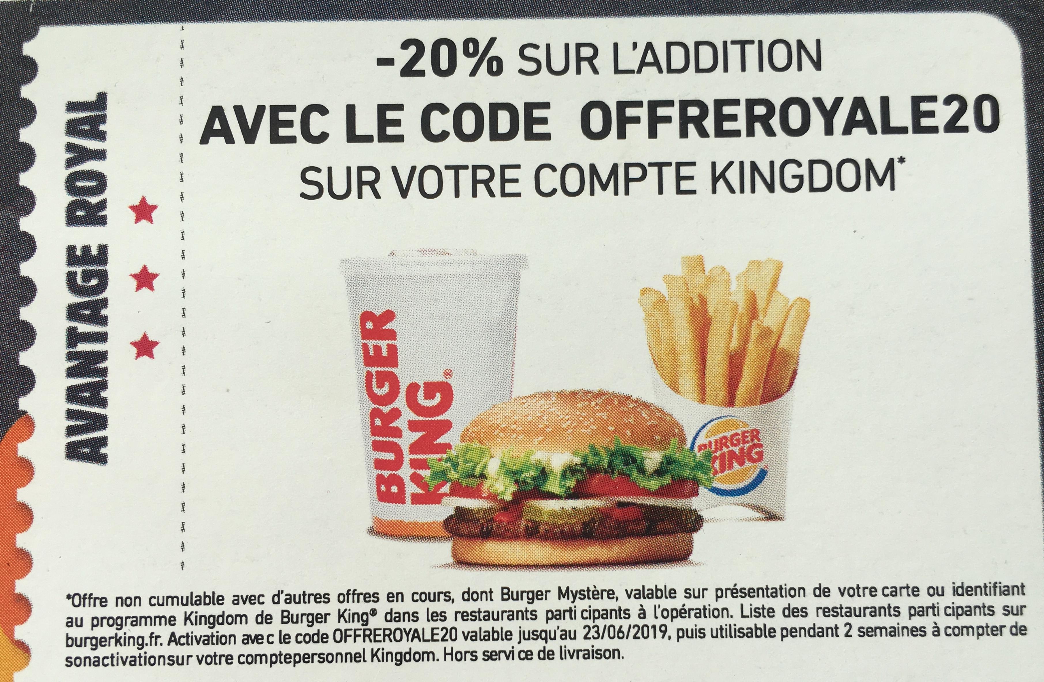 Carte Burger King Royan.20 De Reduction Sur Une Commande Pour L Inscription Au