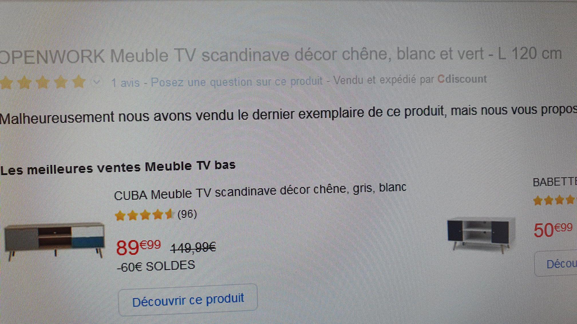 Meuble Tv Openwork 120 Cm Couleur Chene Blanc Et Vert Dealabs Com