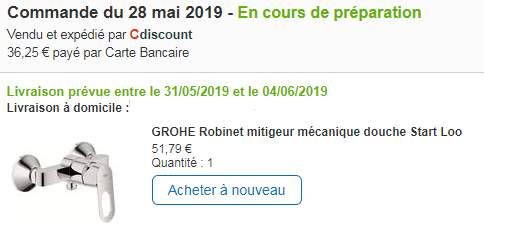 Robinet Mitigeur Mécanique Douche Grohe Start Loop 23354000