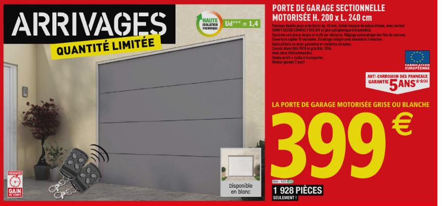 Porte De Garage Sectionnelle Motorisée Somfy Dexxo Compact