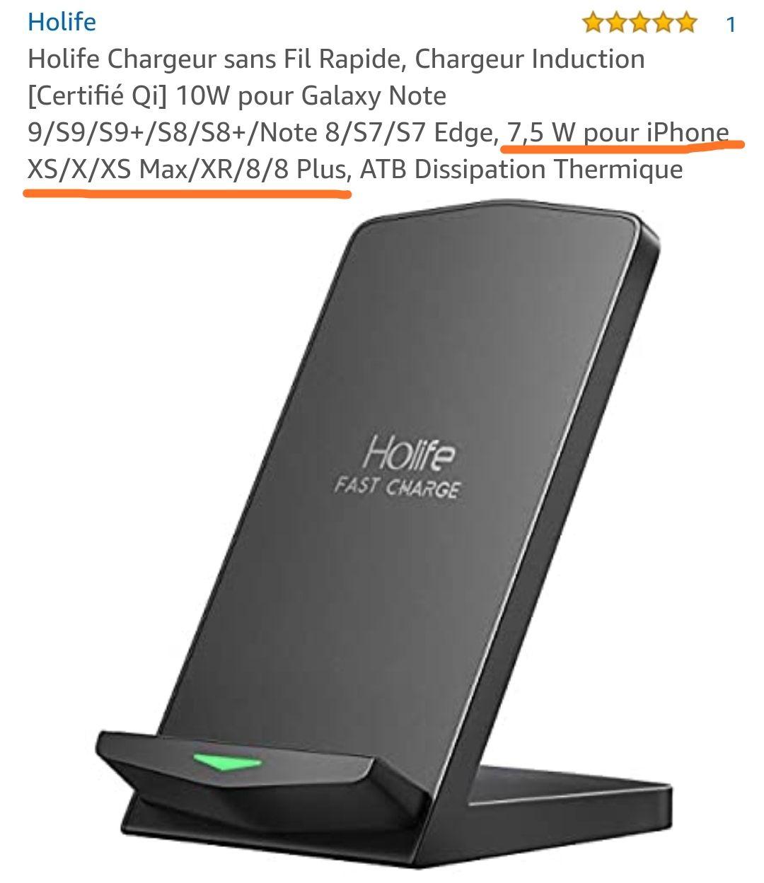 Qi Chargeur sans Fil Rapide, Holife Type C Port Chargeur