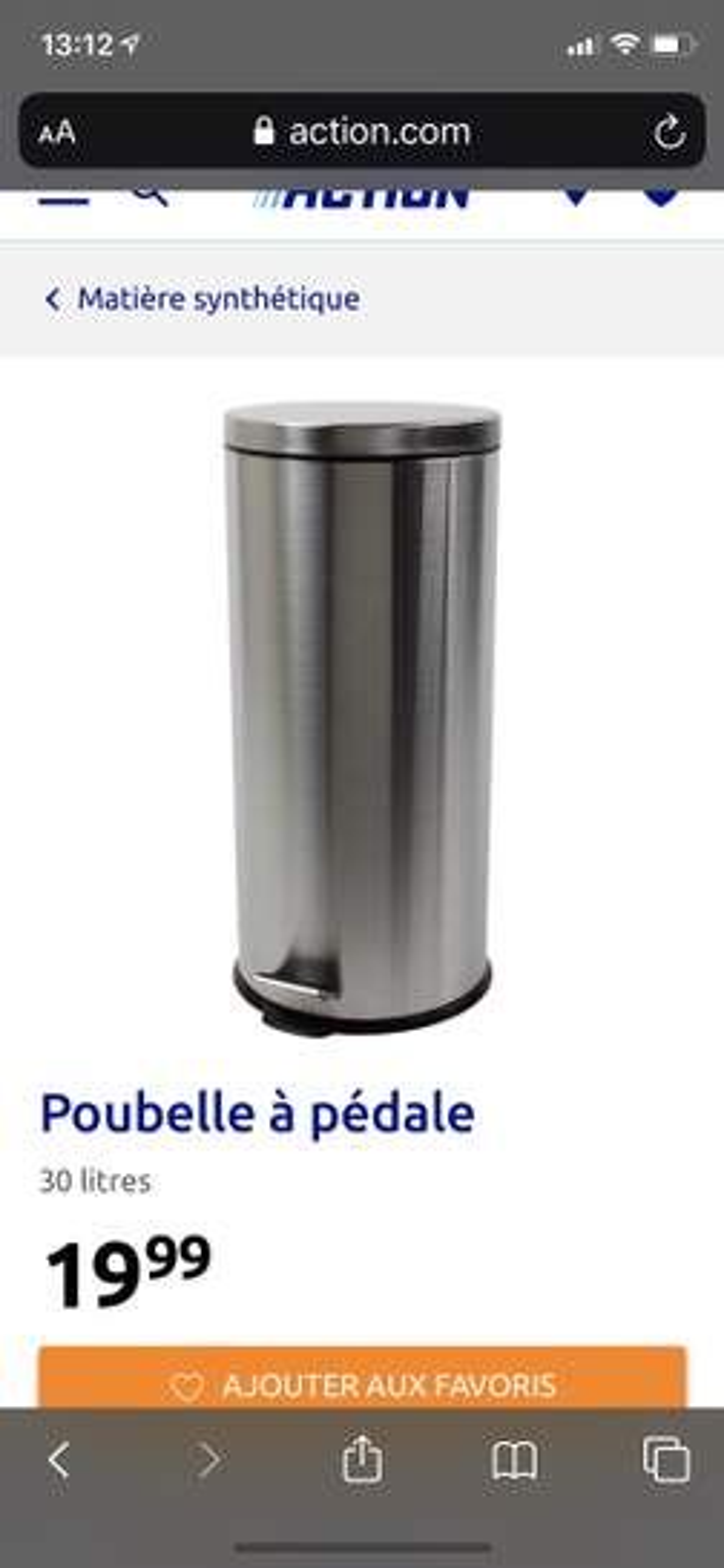 Poubelle à Pédale Brabantia Newicon 30l Noir Collégien