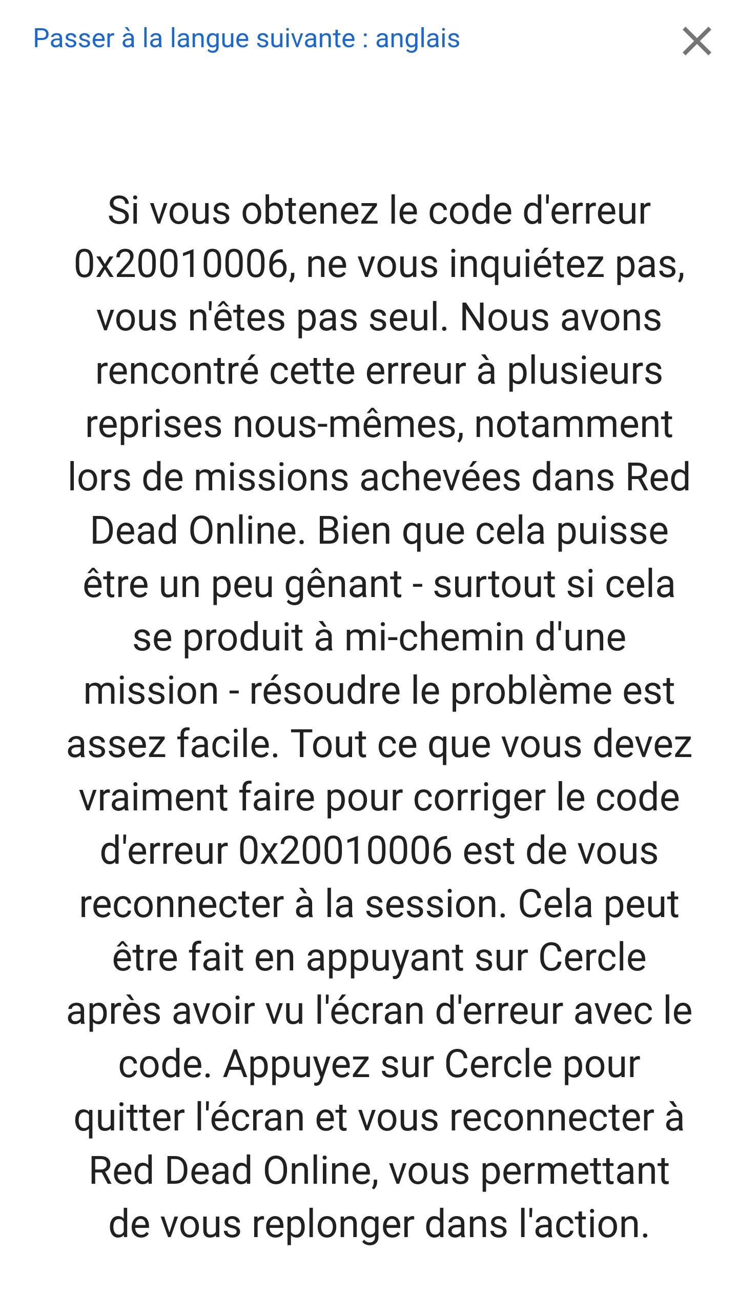 Code erreur 0x20010006 sur Red Dead Rédemption 2 Online – Dealabs com