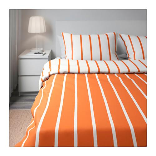 ikea family housse de couette tuvebr cka 240 x 220cm 2 taies orange blanc lomme 52. Black Bedroom Furniture Sets. Home Design Ideas
