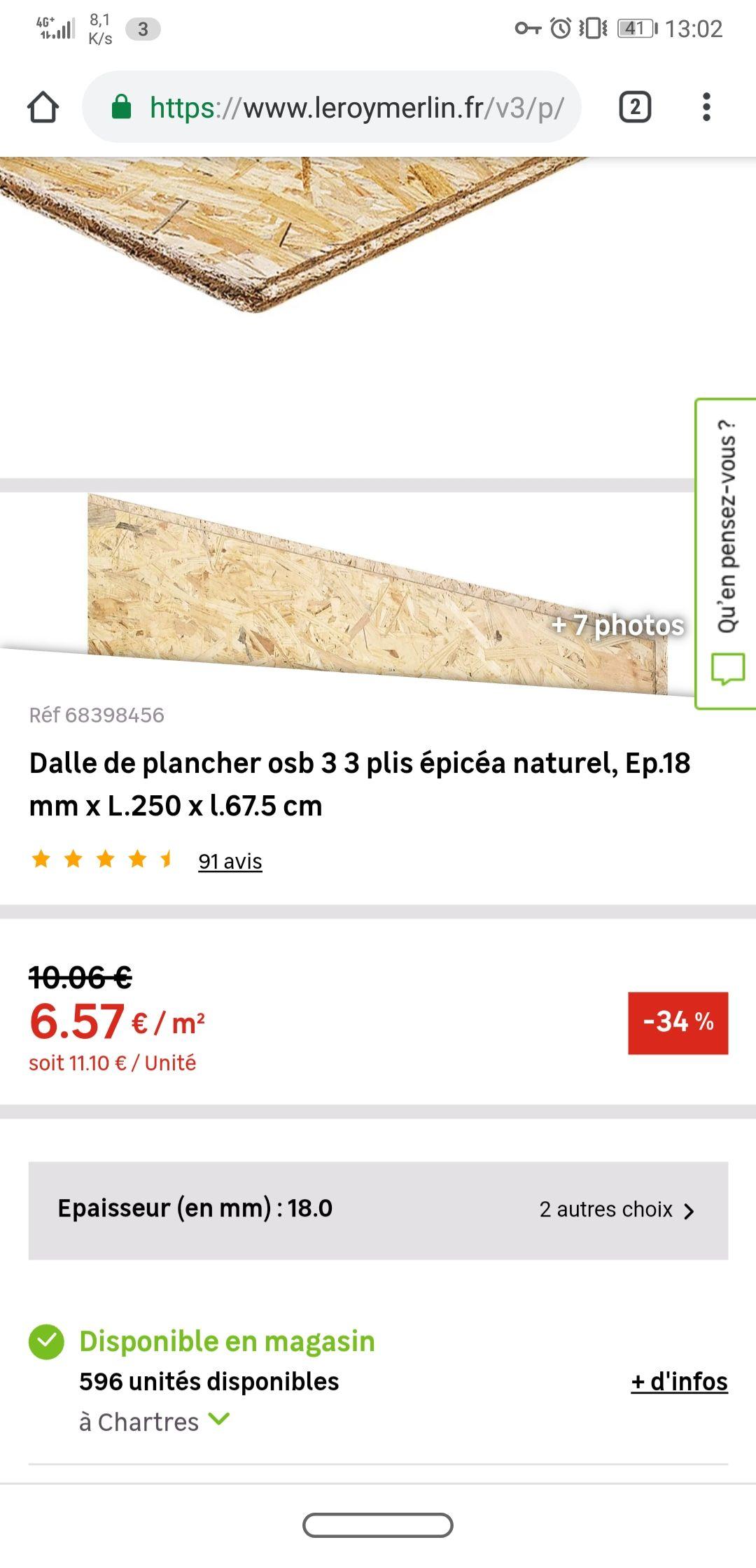 Dalle De Plancher Osb 3 3 Plis En épicéa Naturel 250x67