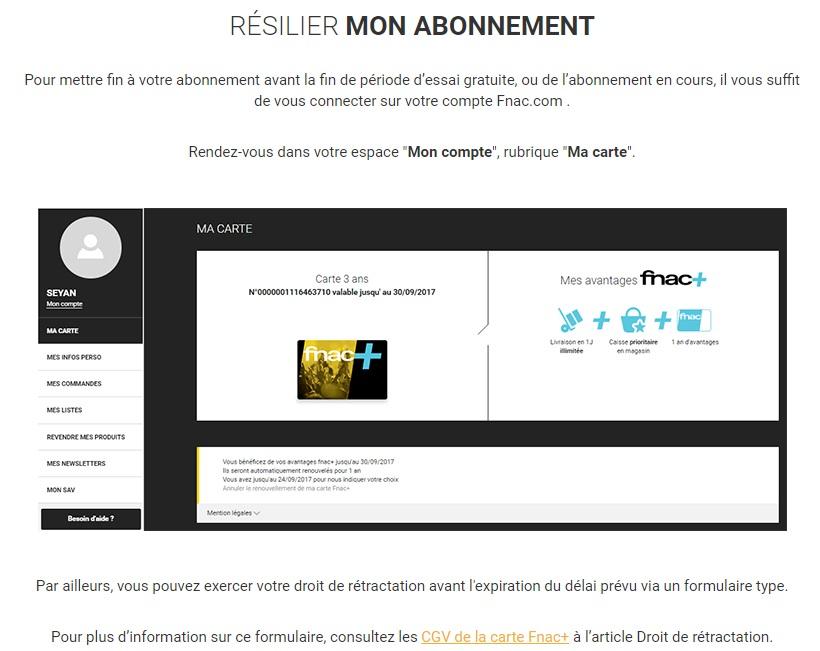 carte fnac + essai gratuit FNAC+ impossible de résilier en ligne?? – Dealabs.com