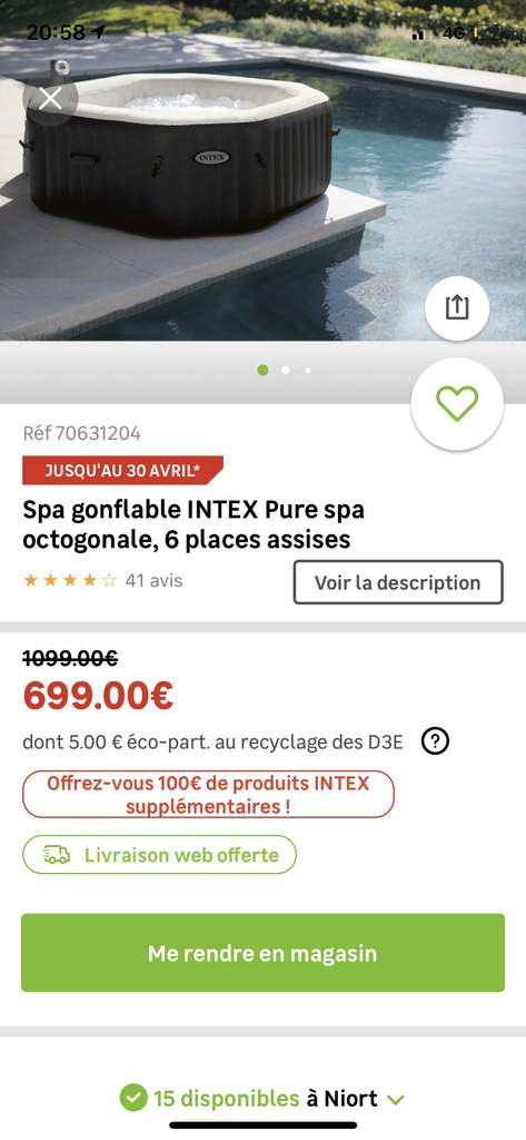 Spa Gonflable Octogonal Intex Jet Bubble Octagon Deluxe 6 Places