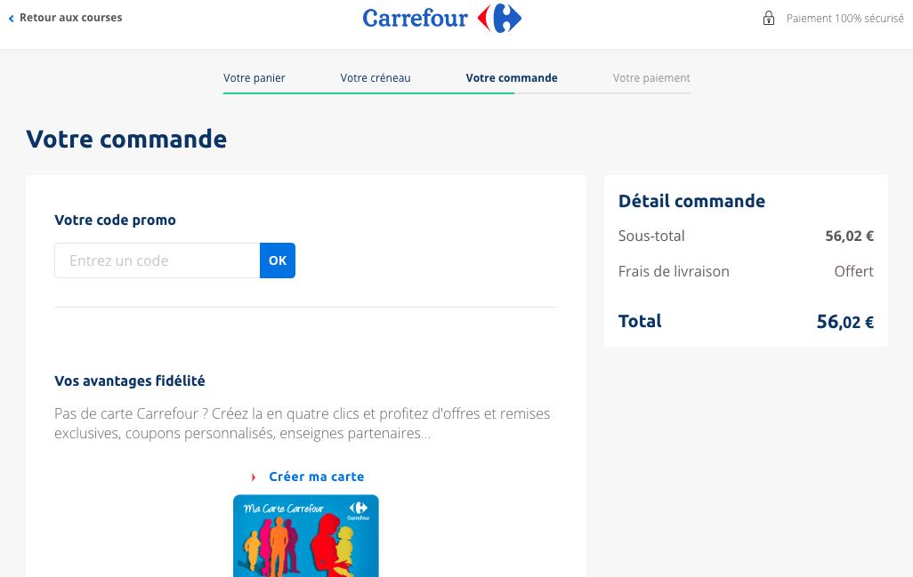 Aperçu de l'ajout du code promo sur Carrefour.fr