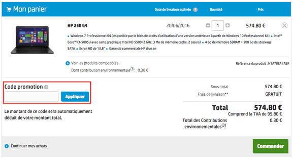 hp – utiliser un code promo – Dealabs