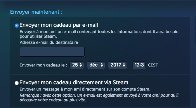steam – offrir un jeu en cadeau – Dealabs