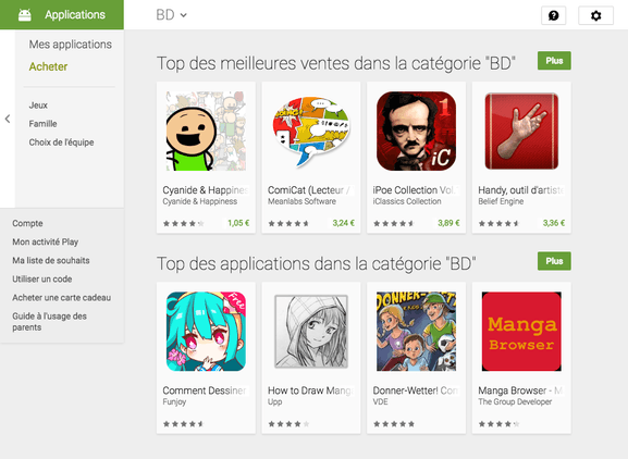 GooglePlay – aplications par catégories – Dealabs