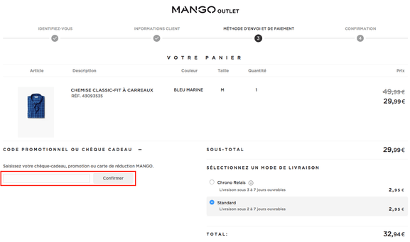 mango outlet – utiliser un code cromo – Dealabs
