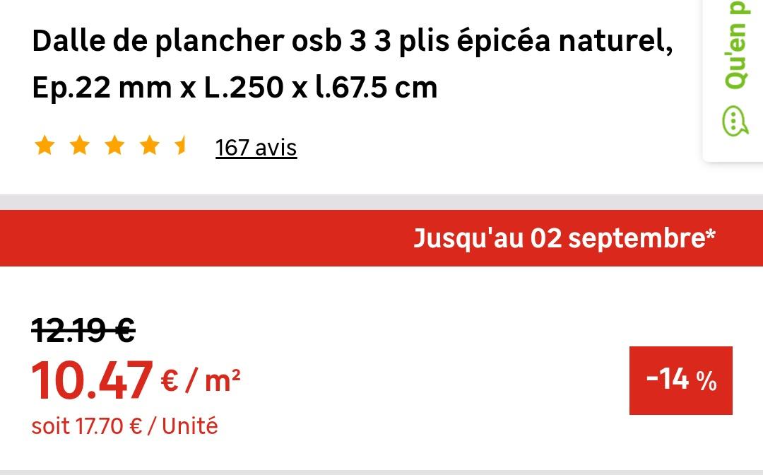 Dalle De Plancher Osb Avec 3 Plis 250x675 Cm 22 Mm D
