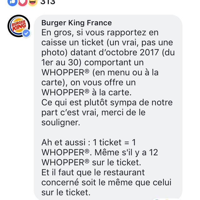 Carte Ticket Restaurant Burger King