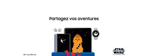 Galaxy Buds avec une tablette, un smartphone et une smartwatch Samsung édition StarWars