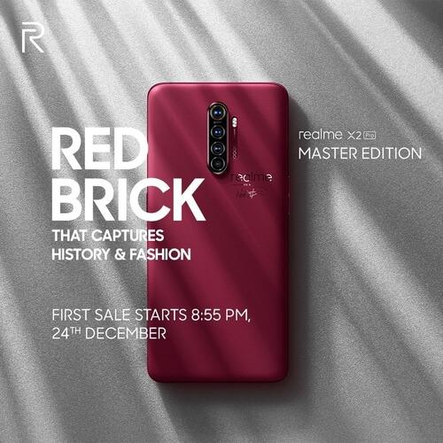 Un Realme X2 Pro rouge sur fond gris