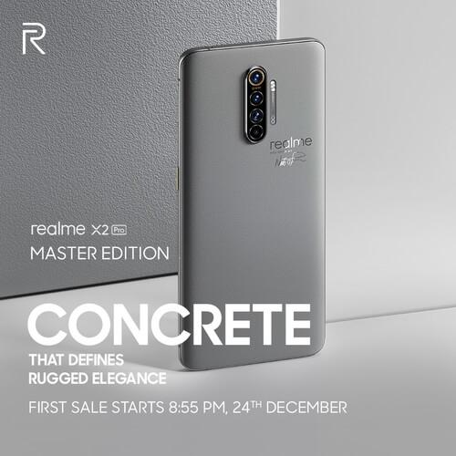 Un Realme X2 Pro gris sur fond gris