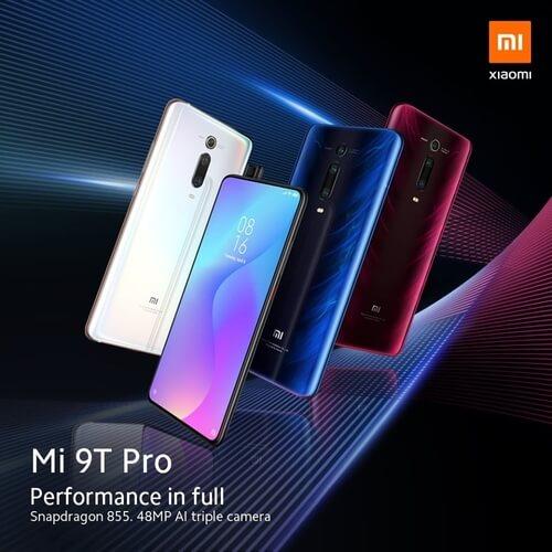 quatre modèles de Xiaomi Mi 9T Pro de couleurs différentes