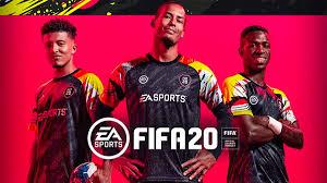 Couverture de Fifa 20 avec fond rouge et Eden Hazard