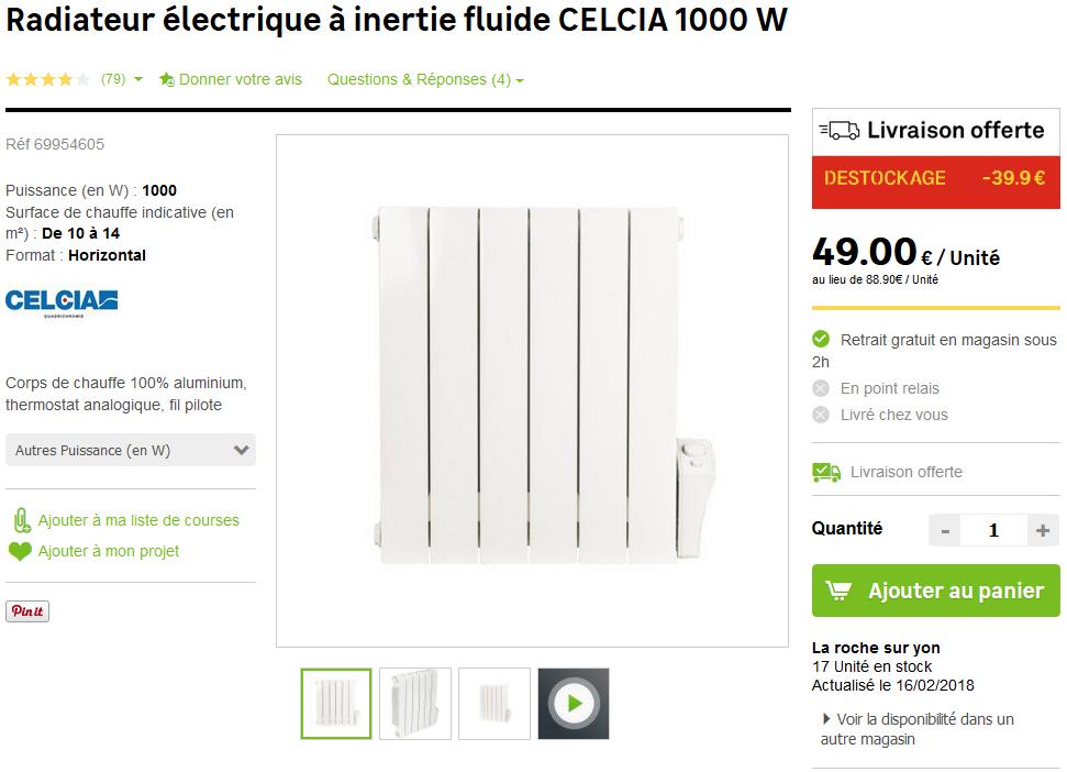 Radiateur lectrique celcia inertie fluide 1000 w la - Leroy merlin la roche sur yon ...