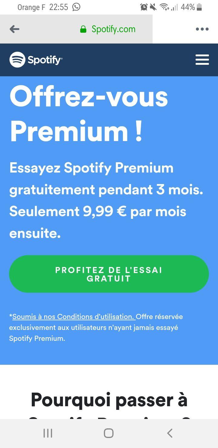 Nouveaux Clients Spotify Premium Gratuit Pendant 3 Mois