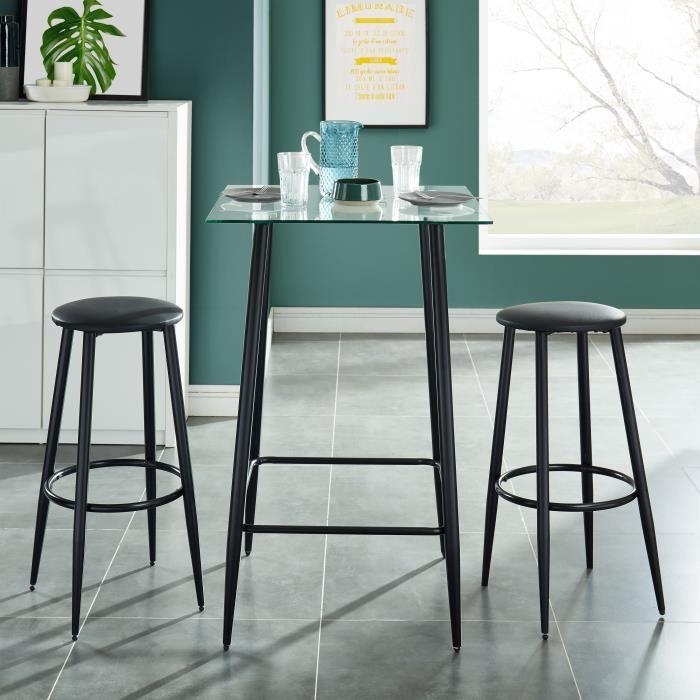 table haute 2 4 personnes style industriel en m tal laqu noir et verre tremp odena 2