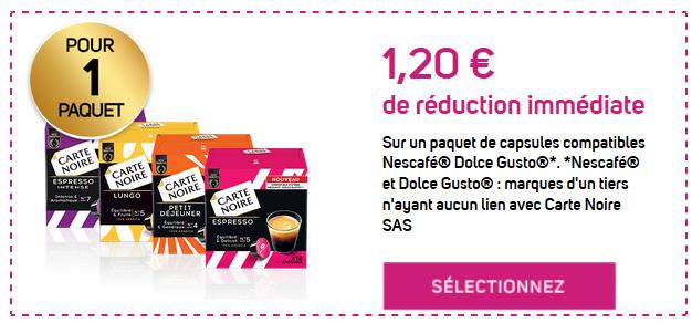 bon de reduction carte noir Boîte de 16 capsules de Café