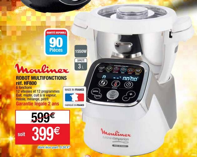 Robot de cuisine multifonctions compact moulinex companion - Moulinex hf800 companion cuisine ...