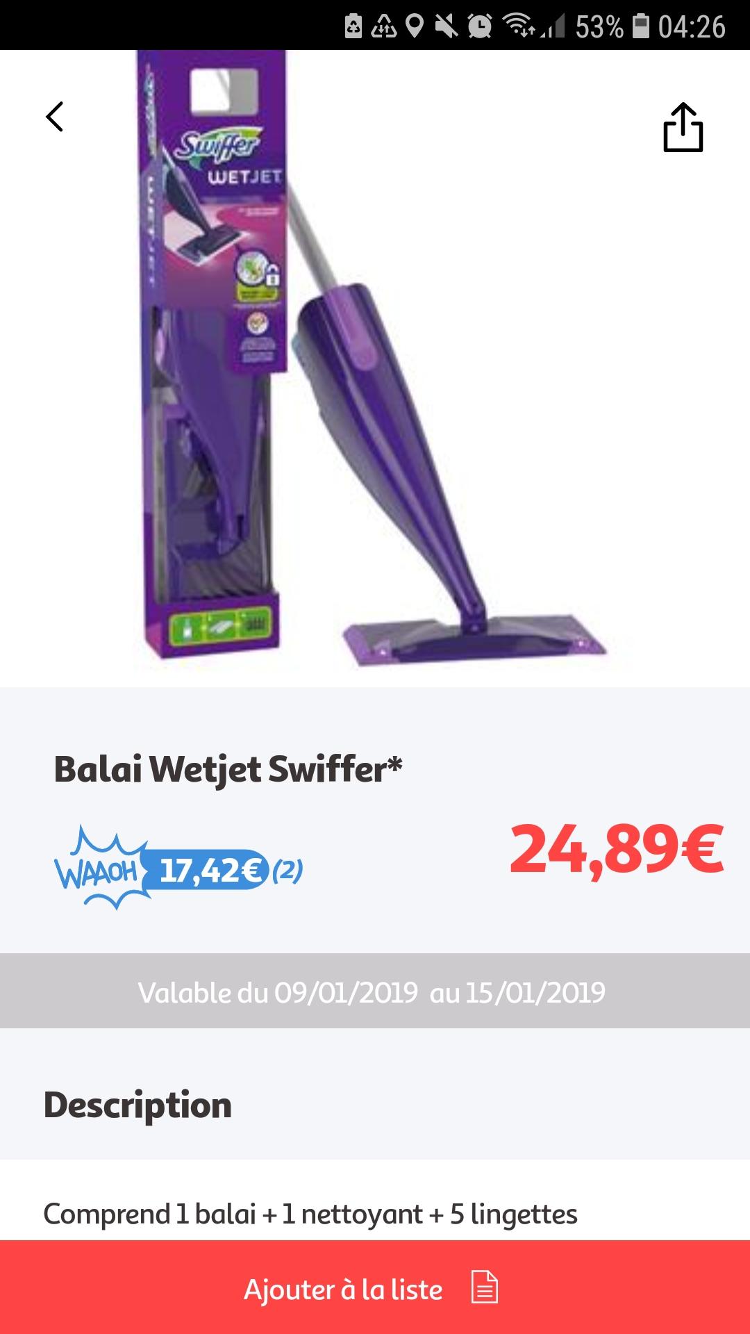 Balai Swiffer Wetjet Accessoires Via 1742 Sur La Carte