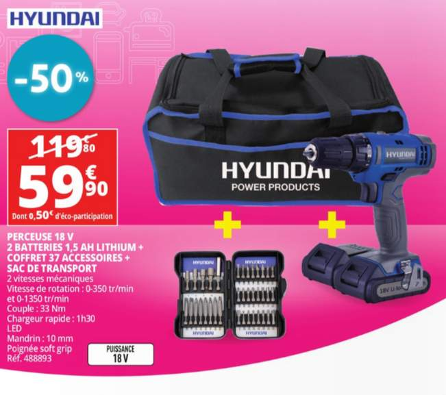 Perceuse hyundai 18v