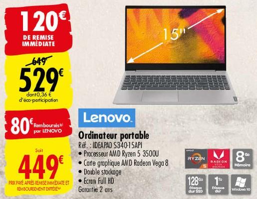 Pc Lenovo Ideapad S340 15api Ryzen 5 3500u Ssd 128go 1to