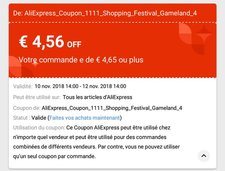 coupons vendeur aliexpress