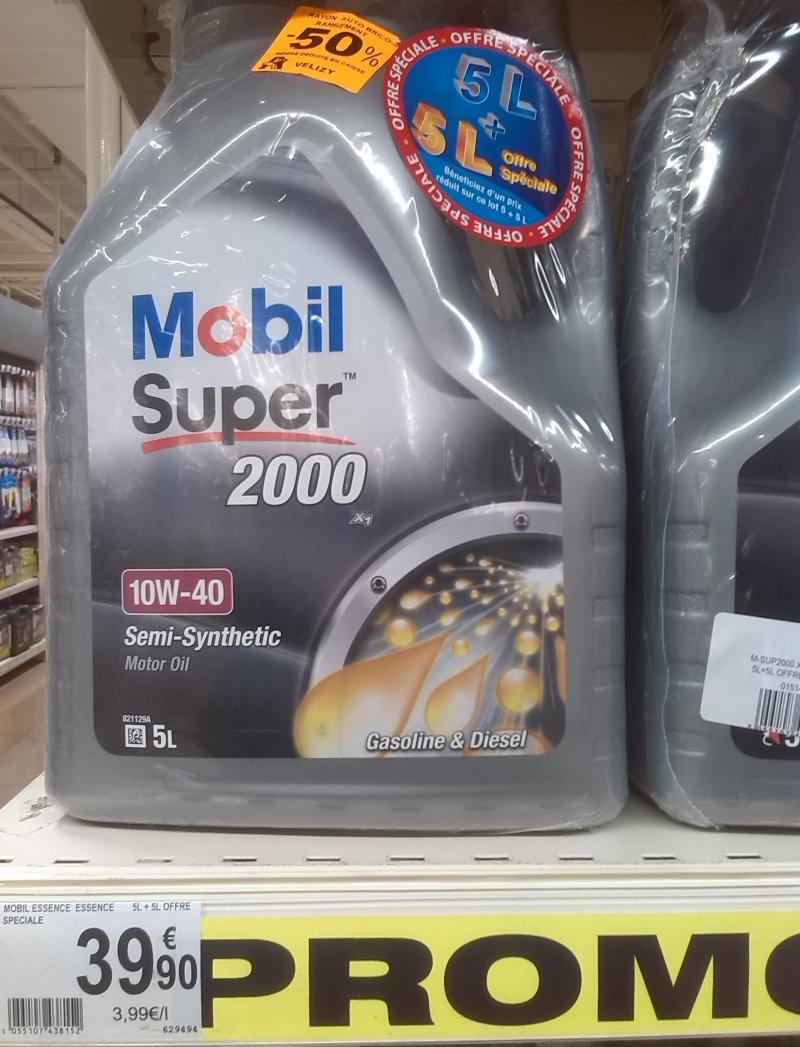 Pack de 2 bidons d 39 huile moteur mobil super 2000 10w40 5l - Huile moteur auchan ...