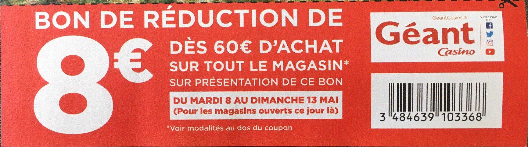 8 de r duction d s 60 d achat en magasin - Geant casino salon de provence ...