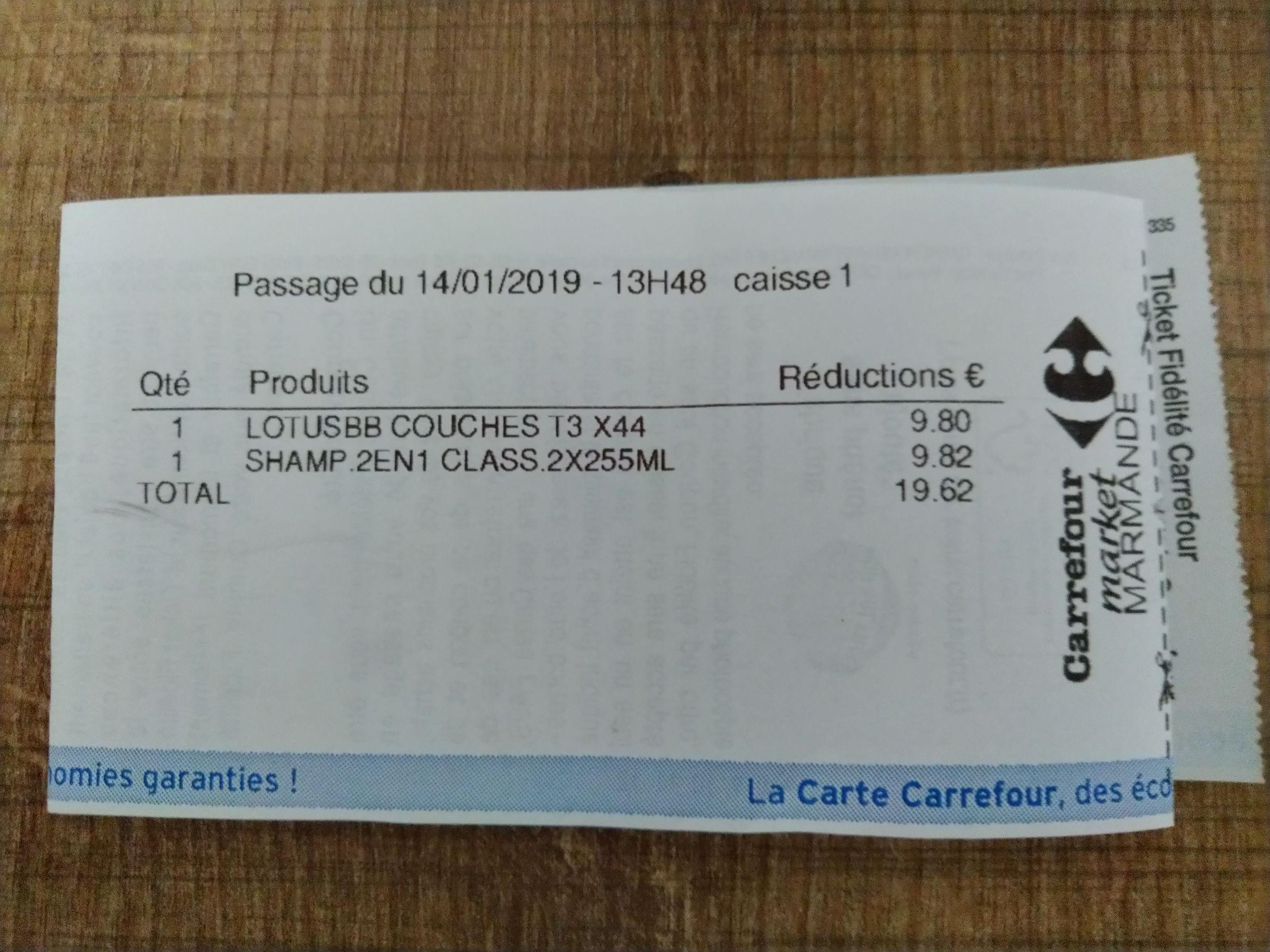 Carte Carrefour Ticket De Caisse.Paquet De Couches Lotus Baby Touch Via 9 80 Sur La Carte Fidelite
