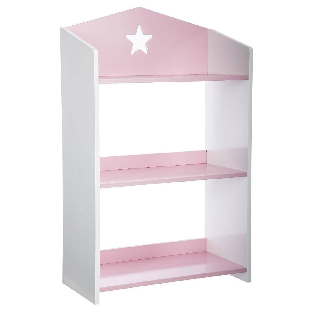 biblioth que tag re pour enfant toile gris ou rose 48 78 24cm. Black Bedroom Furniture Sets. Home Design Ideas