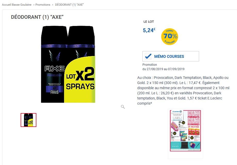 Lot de 2 Déodorants Axe (Parfums au choix) - 2 x 150ml (Via
