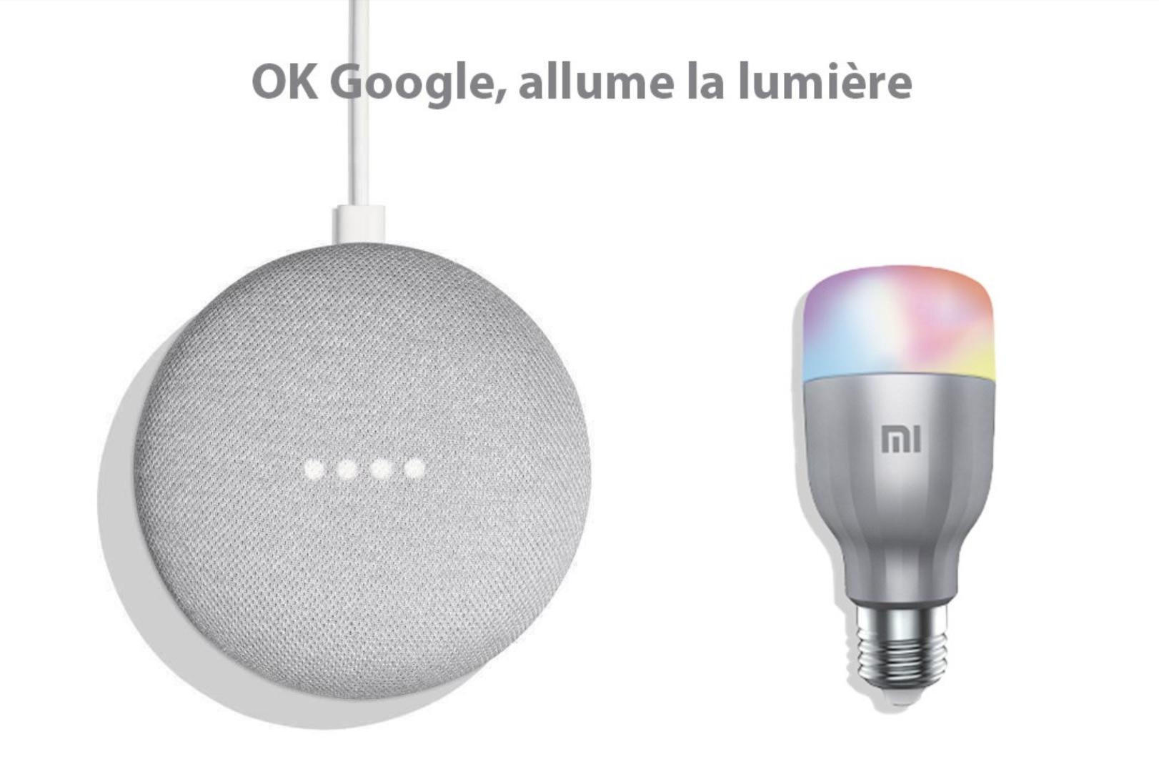 pack assistant vocal google home mini ampoule mi led v3. Black Bedroom Furniture Sets. Home Design Ideas