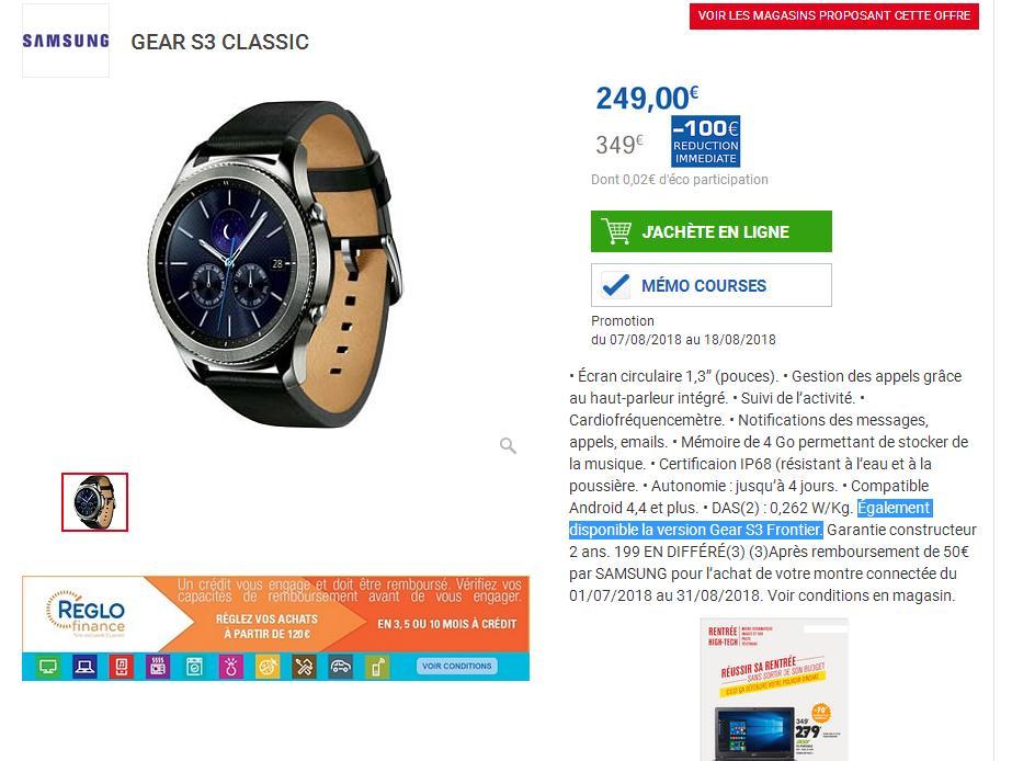 bba56357347ba Prix de 199 après remboursement de 50€ par SAMSUNG pour l'achat de votre montre  connectée du 01/07/2018 au 31/08/2018