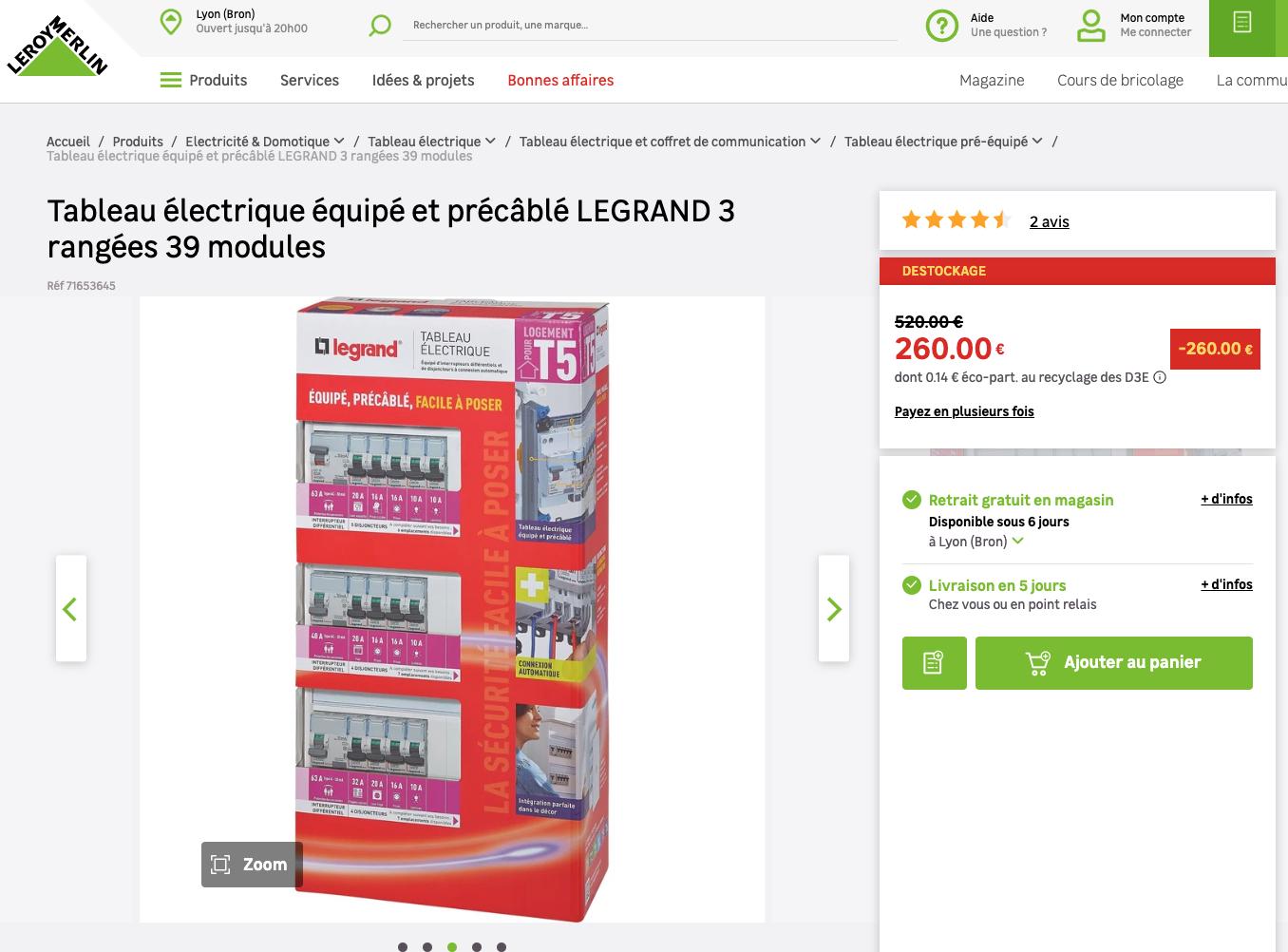 Tableau électrique équipé Et Précâblé Legrand 3 Rangées 39