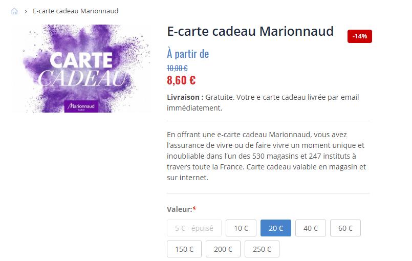 Carte Cadeau Marionnaud Fnac.30 De Reduction Sur Les Parfums Coffrets Soins Et