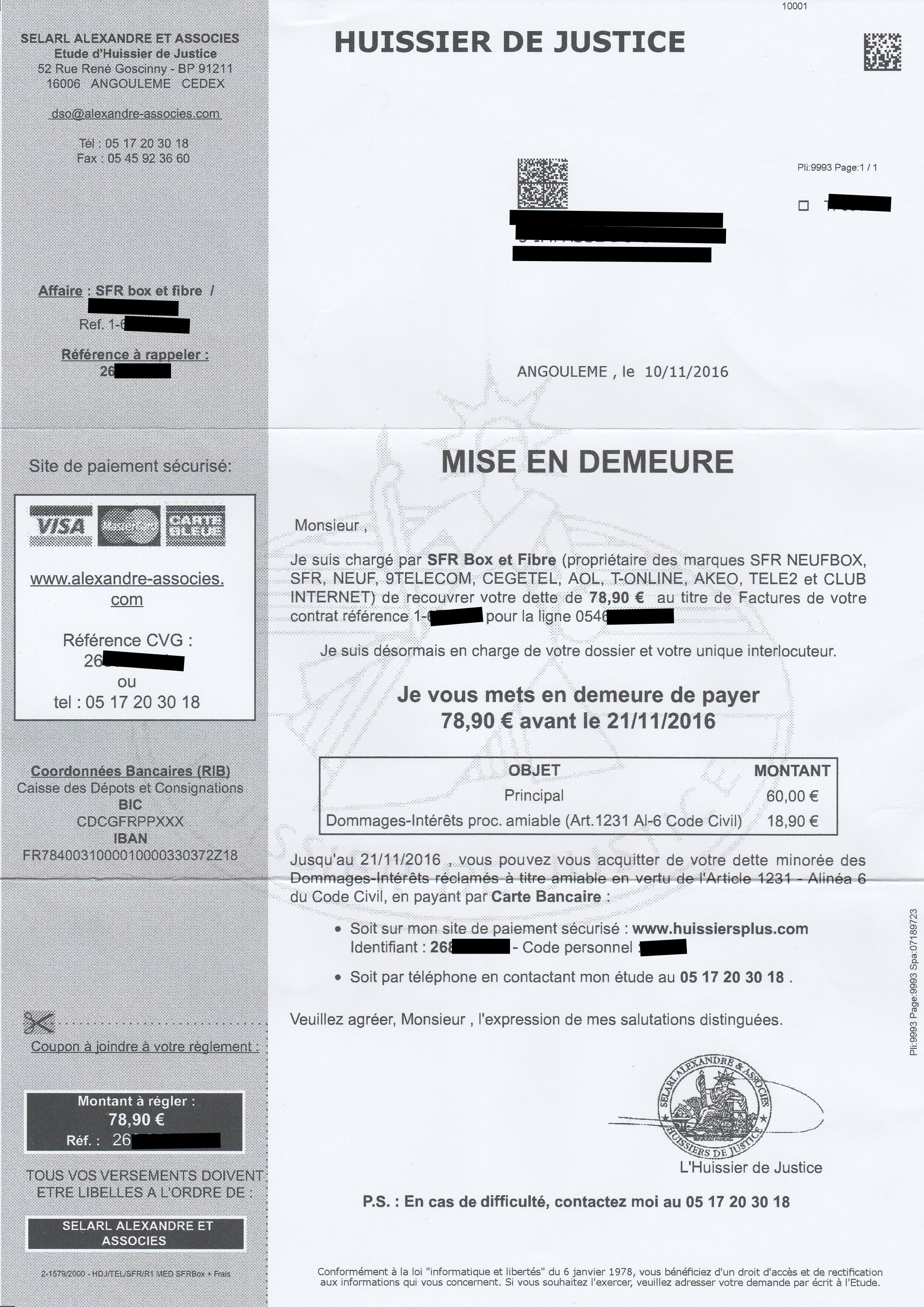 Mise en demeure SFR via huissier: Que faire? – Dealabs.com