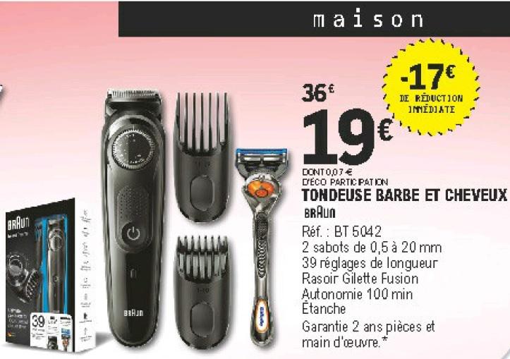 Tondeuse Electrique Sans Fil Barbe Cheveux Braun Bt5042