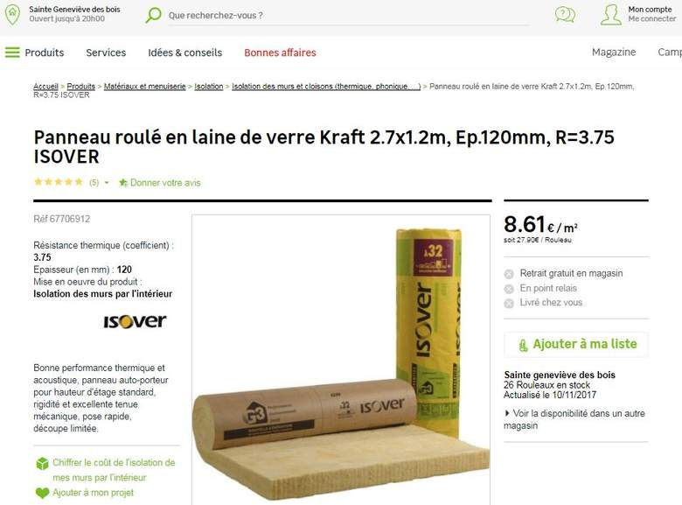Rouleau de laine de verre gr 32 kraft isover for Laine de verre gr32 120mm prix