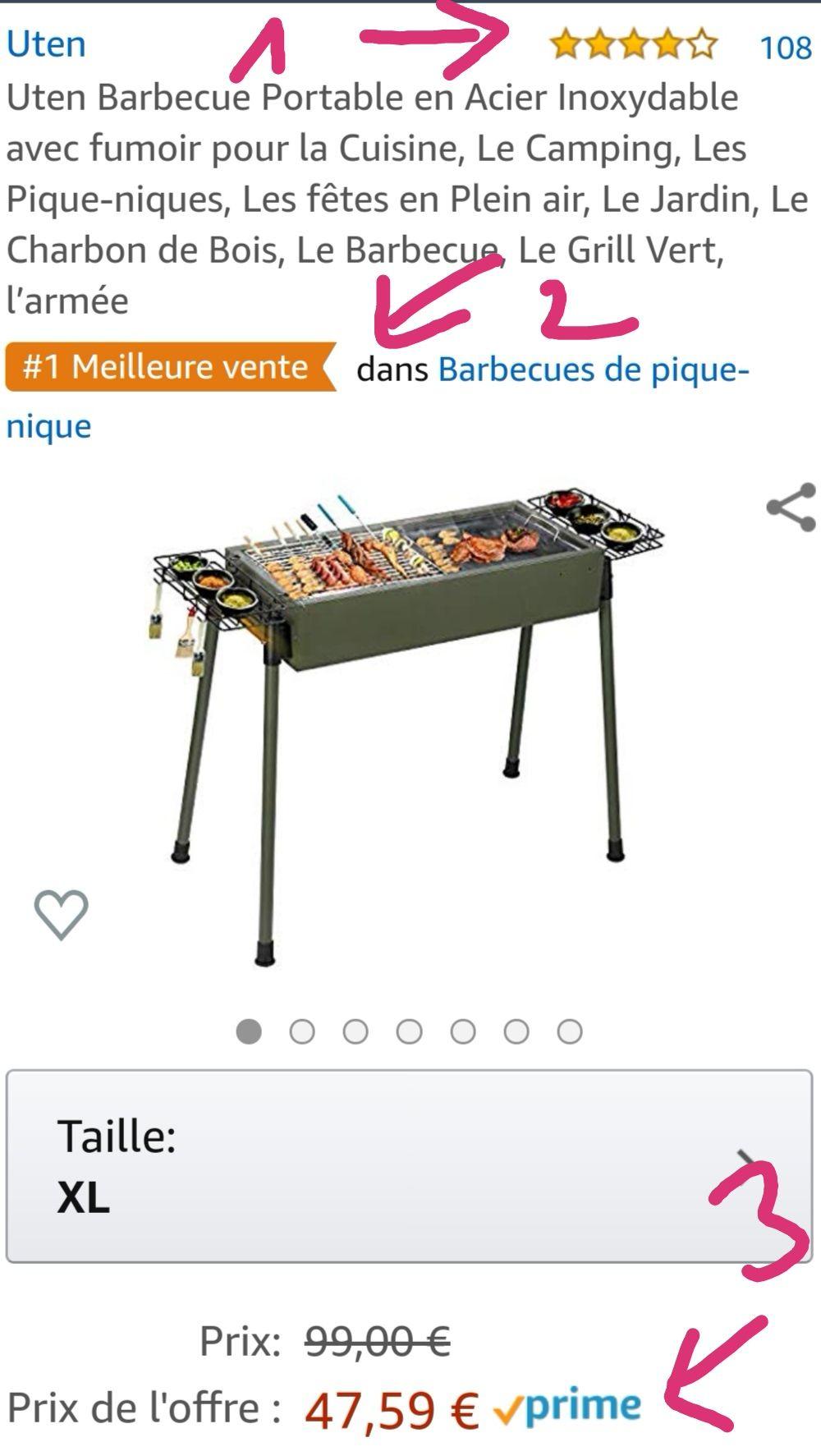 Uten Barbecue Portable en Acier Inoxydable à Charbon de Bois
